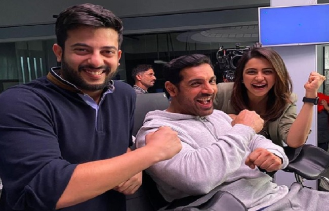 mumbai, Director Lakshya Raj Anand, posed with John Abraham, Rakul Preet ,set of Attack