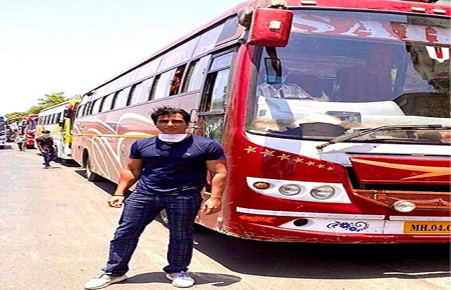 mumbai, Sonu Sood, became home , migrant laborers ,via bus