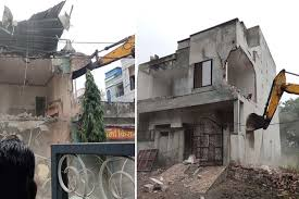 Indore, Bulldozer ,district administration, fired on two, drug mafia houses