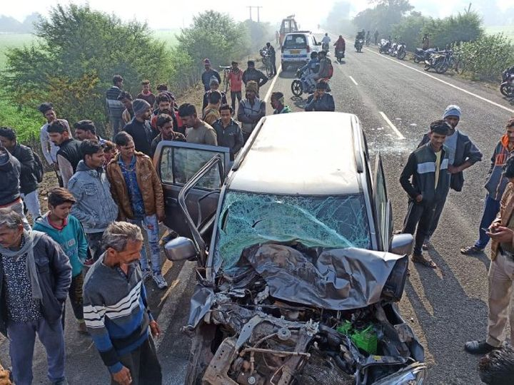bina, horrific road accident, uncontrolled bus overturned , hitting the car, one died